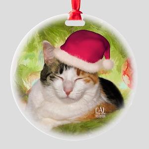 Christmas Calico Round Ornament