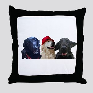 3 retrievers Throw Pillow