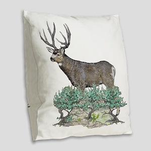 Buck watercolor art Burlap Throw Pillow