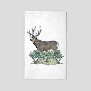 Buck watercolor art 3'x5' Area Rug