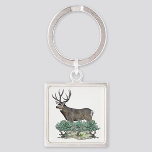 Buck watercolor art Square Keychain