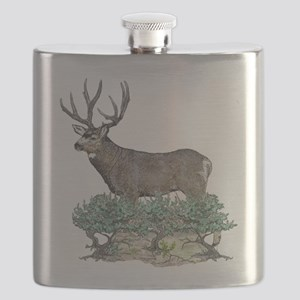 Buck watercolor art Flask