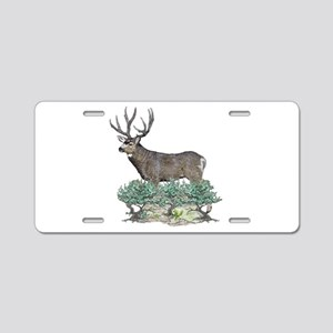 Buck watercolor art Aluminum License Plate