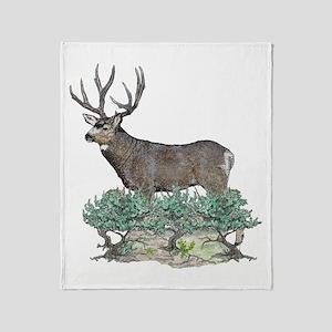 Buck watercolor art Throw Blanket