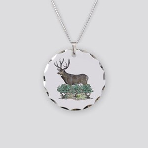Buck watercolor art Necklace Circle Charm