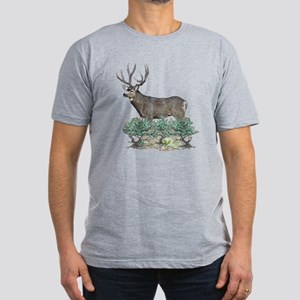 Buck watercolor art Men's Fitted T-Shirt (dark)