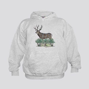Buck watercolor art Kids Hoodie