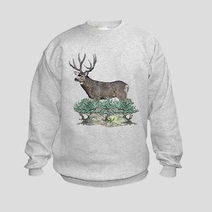 Buck watercolor art Kids Sweatshirt