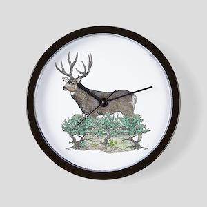 Buck watercolor art Wall Clock