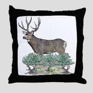 Buck watercolor art Throw Pillow