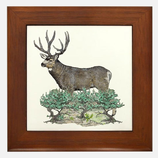 Buck watercolor art Framed Tile