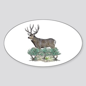 Buck watercolor art Sticker (Oval)