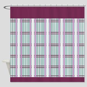 Elegant Plum Plaid Shower Curtain