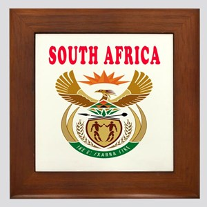 South Africa Coat Of Arms Designs Framed Tile
