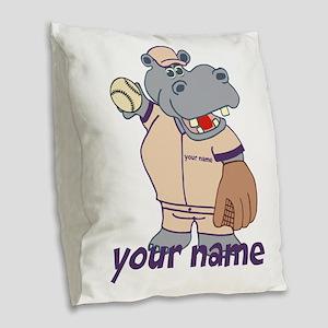 Personalized Baseball Hippo Burlap Throw Pillow