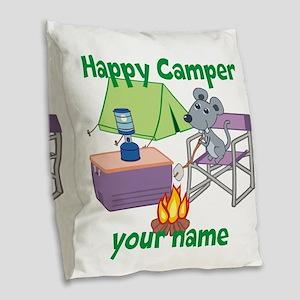 Custom Happy Camper Mouse Burlap Throw Pillow