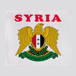 Syria Coat Of Arms Designs Throw Blanket