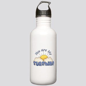 Blue Text You Are My Sunshine Water Bottle