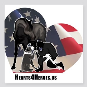 "Hearts4Heroes Square Car Magnet 3"" x 3"""