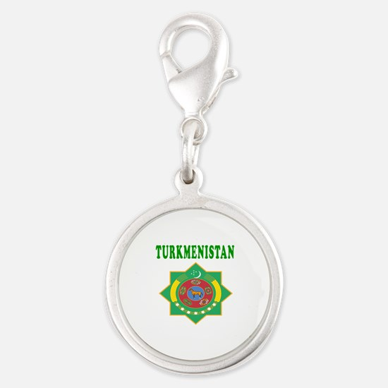 Turkmenistan Coat Of Arms Designs Silver Round Cha