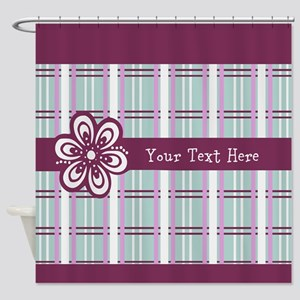 Custom Plum Plaid Shower Curtain