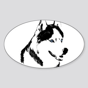 Siberian Husky Sled Dog Sticker (Oval)