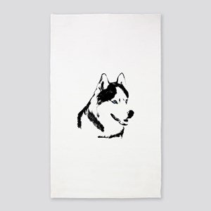 Siberian Husky Sled Dog 3'x5' Area Rug