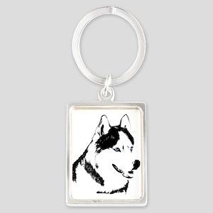Siberian Husky Keychain Sled Dog Portrait Keychain