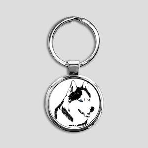 Siberian Husky Sled Dog Round Keychain