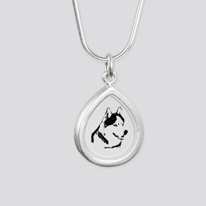 Siberian Husky Sled Dog Silver Teardrop Necklace