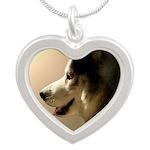 Siberian Husky Sled Dog Silver Heart Necklace
