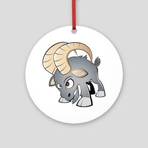Cartoon Ram Ornament (Round)