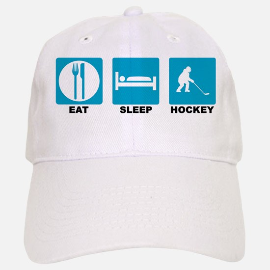 Eat Sleep Hockey Blue Icons Baseball Baseball Cap