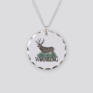 Wyoming buck Necklace Circle Charm