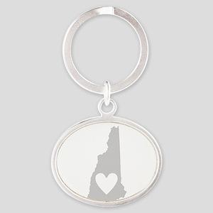 Heart New Hampshire Oval Keychain