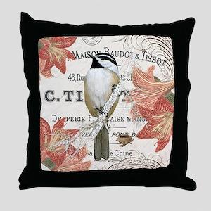 modern vintage winter garden chickadee Throw Pillo