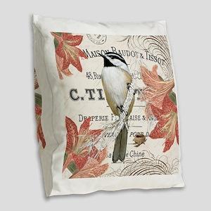modern vintage winter garden chickadee Burlap Thro