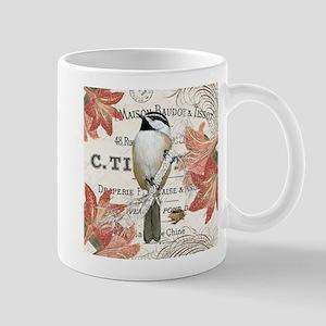 modern vintage winter garden chickadee Mug