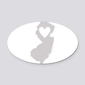 Heart New Jersey Oval Car Magnet