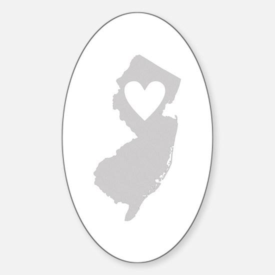 Heart New Jersey Sticker (Oval)
