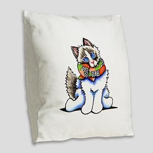 Ragdoll Scarf Burlap Throw Pillow