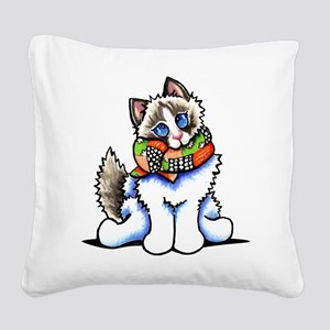 Ragdoll Scarf Square Canvas Pillow