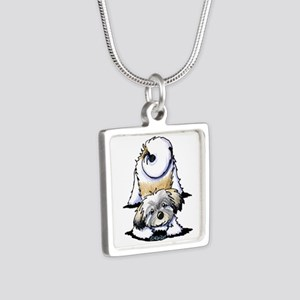 Playful Havanese Silver Square Necklace