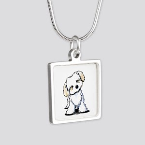 Havanese Sweetie Silver Square Necklace