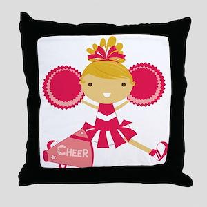 Cheerleader in Hot Pink Throw Pillow
