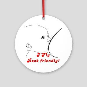 I Fly Boob Friendly! Luggage Ornament (Round)
