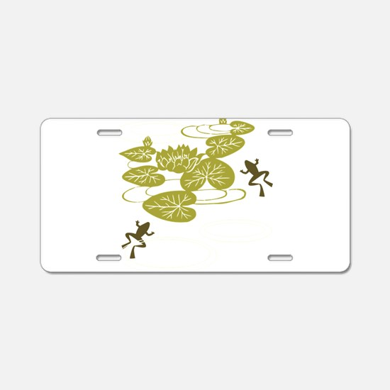 Frogs with Lily pads Aluminum License Plate