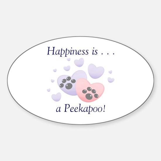 Happiness is...a Peekapoo Oval Decal