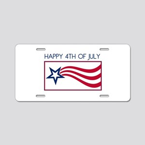 Happy 4th July Star Aluminum License Plate