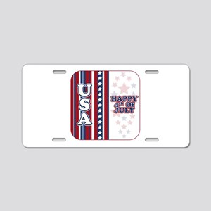 U.S.A. Happy 4th of July Aluminum License Plate